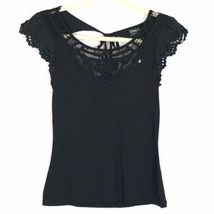ONLY LOVE COLLECTION Black Cap Sleeve Top w Lace